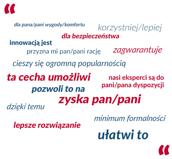 Język korzyści przykłady